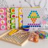 обложка Мозаика деревянная 3 в 1 с шариками, пинцетом и трафаретами (мозаика+сортировка+мемори)