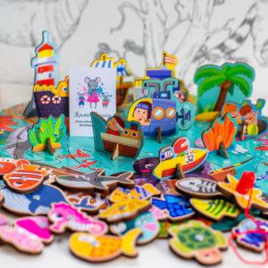 """обложка Деревянный 3D пазл-игра с магнитной рыбалкой """"Океан"""""""