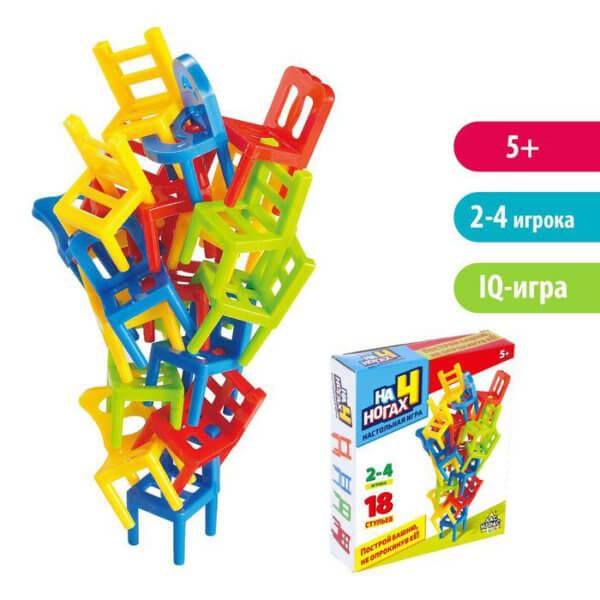 Обложка Настольная игра на равновесие «На 4 ногах», 18 стульев