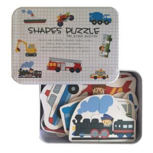 Обложка Развивающие деревянные пазлы Машины SHAPES PUZZLE